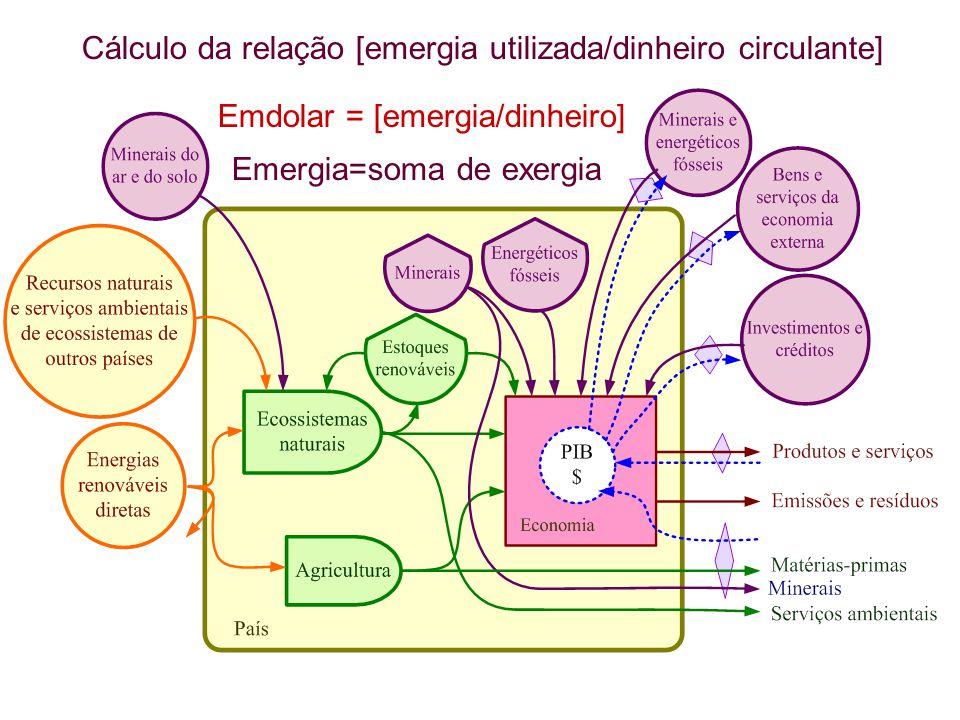 Cálculo da relação [emergia utilizada/dinheiro circulante]